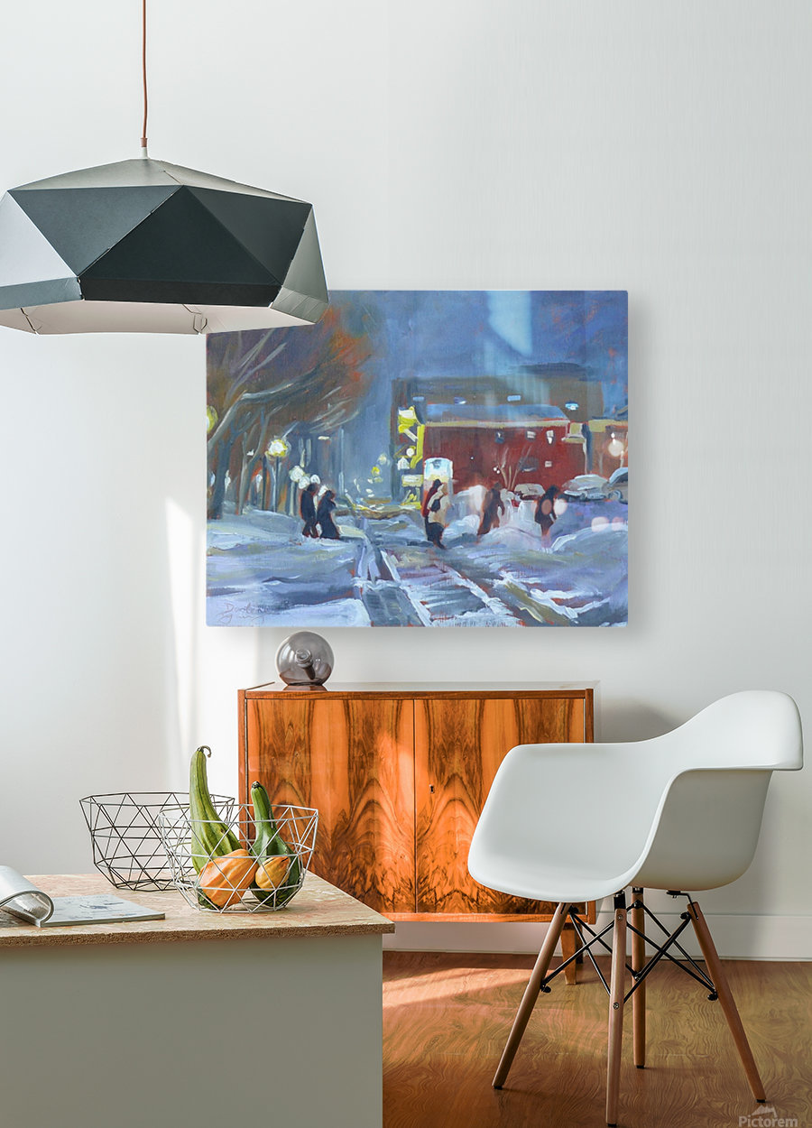 Charlottetown Winter Evening  HD Metal print with Floating Frame on Back