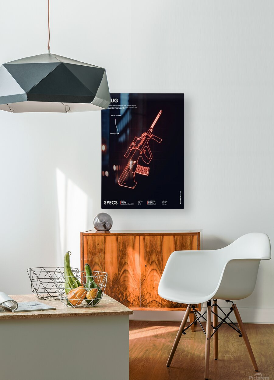 AUG CSGO WEAPON  HD Metal print with Floating Frame on Back