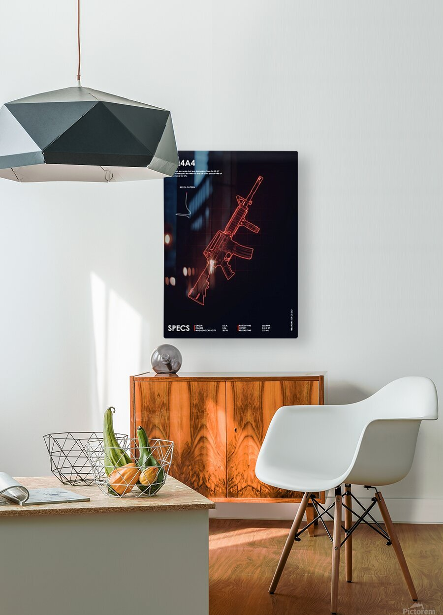M4A4 CSGO WEAPON  HD Metal print with Floating Frame on Back