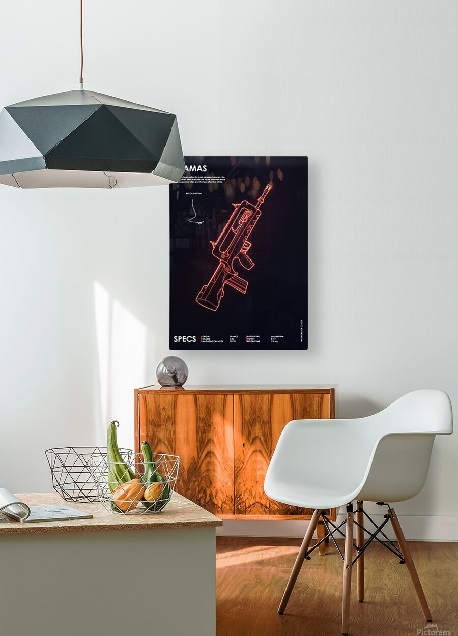 FAMAS CSGO WEAPON  HD Metal print with Floating Frame on Back