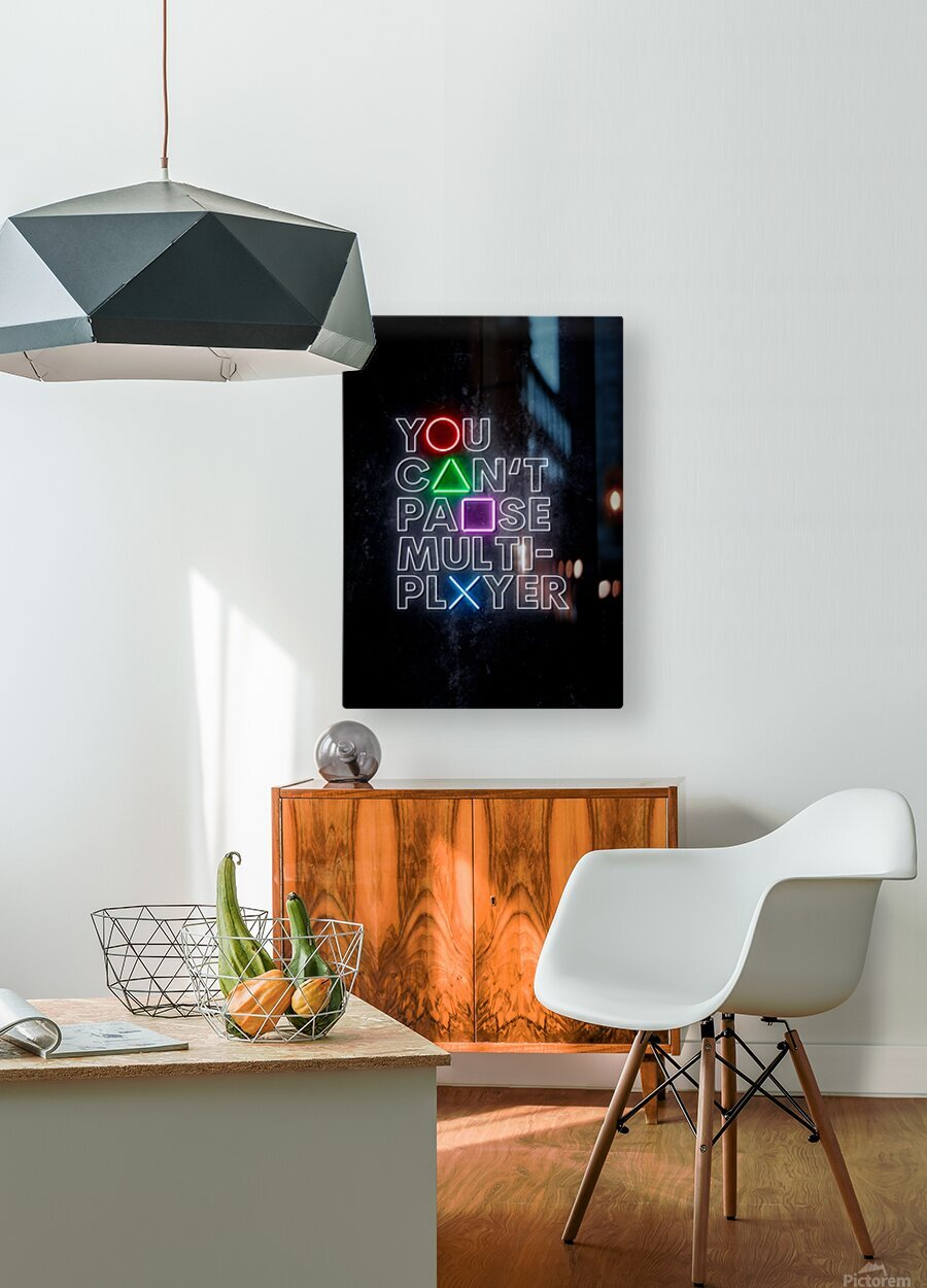 YOU CANT PAUSE MULTI-PLAYER  HD Metal print with Floating Frame on Back