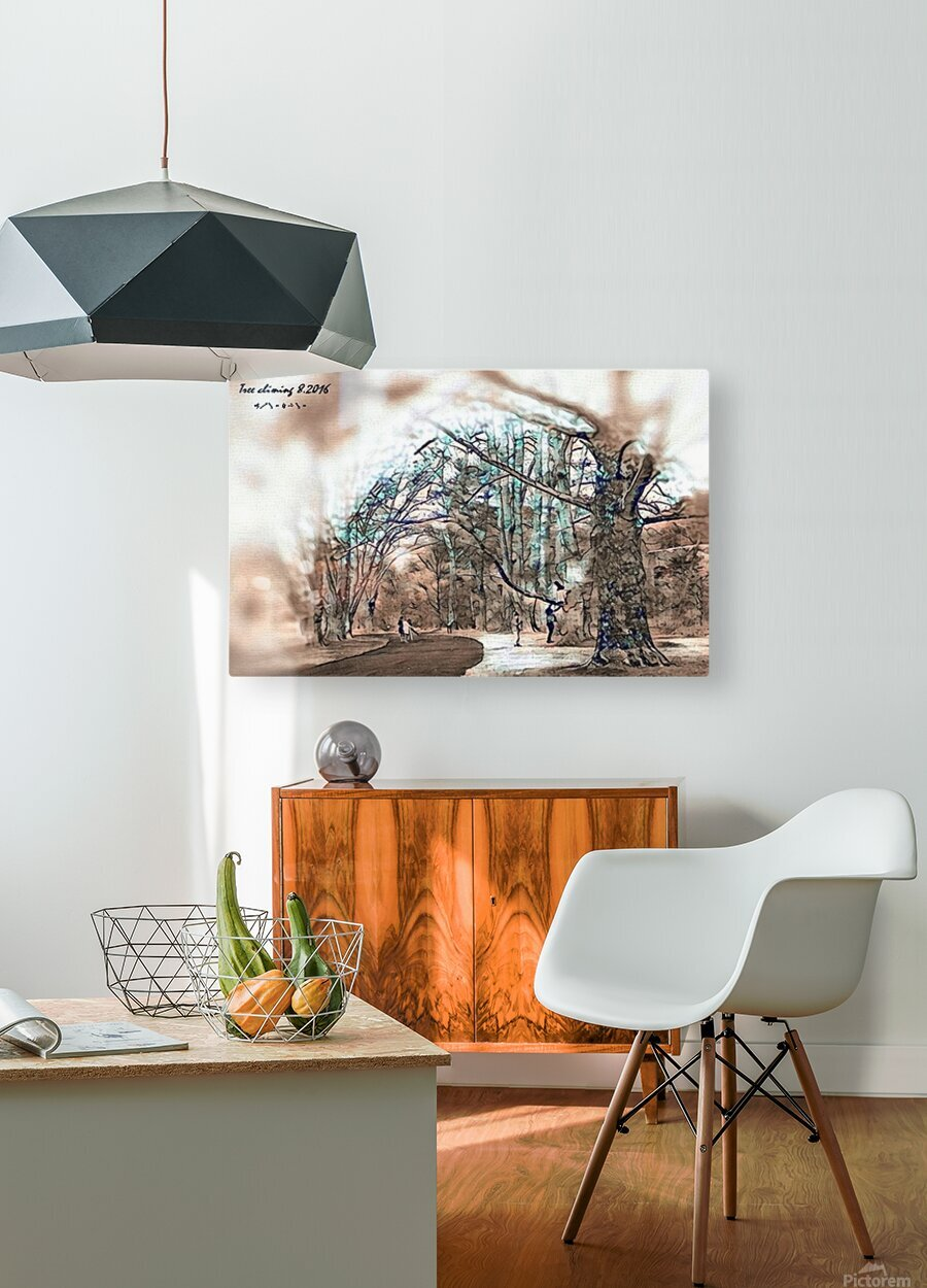 TreeCliming inky  HD Metal print with Floating Frame on Back