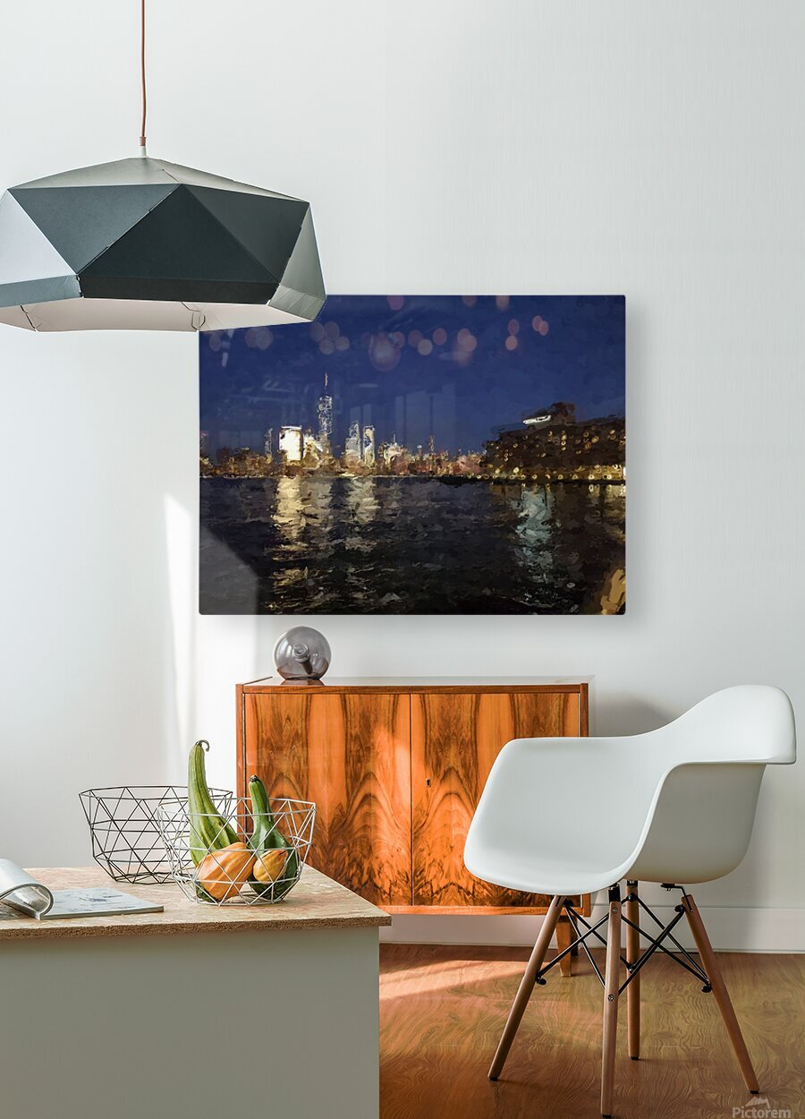 NYNight  HD Metal print with Floating Frame on Back