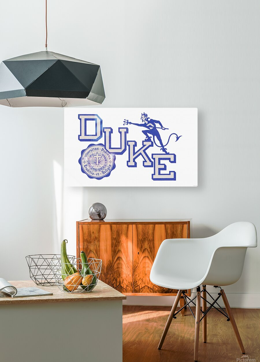 Vintage Duke University Art  HD Metal print with Floating Frame on Back