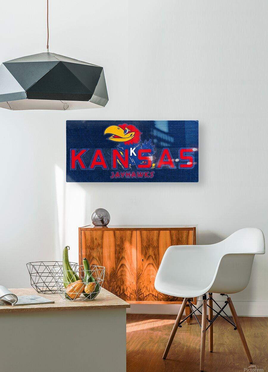 1950s Kansas Jayhawk Art  HD Metal print with Floating Frame on Back