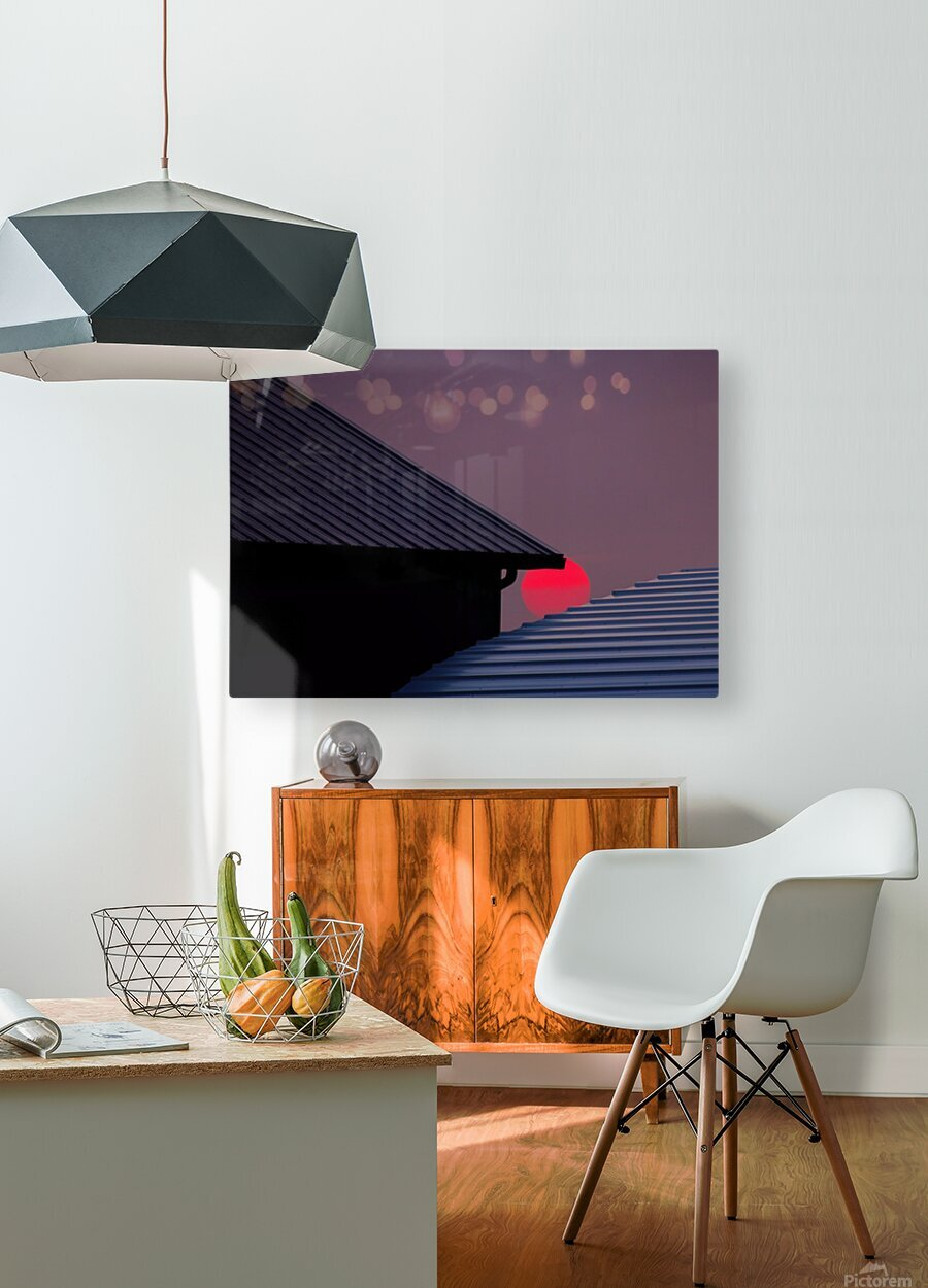 Smokey Sunset and Steel Roofs  HD Metal print with Floating Frame on Back