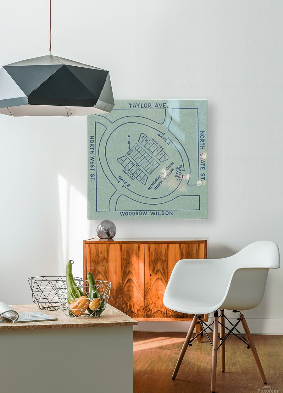1956 Memorial Stadium Map Jackson MS  HD Metal print with Floating Frame on Back