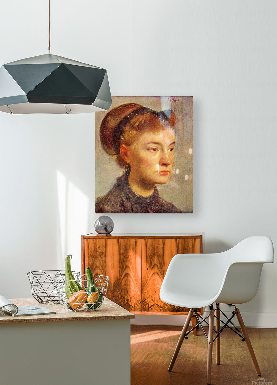 Portrait of a young Lady by Degas  HD Metal print with Floating Frame on Back
