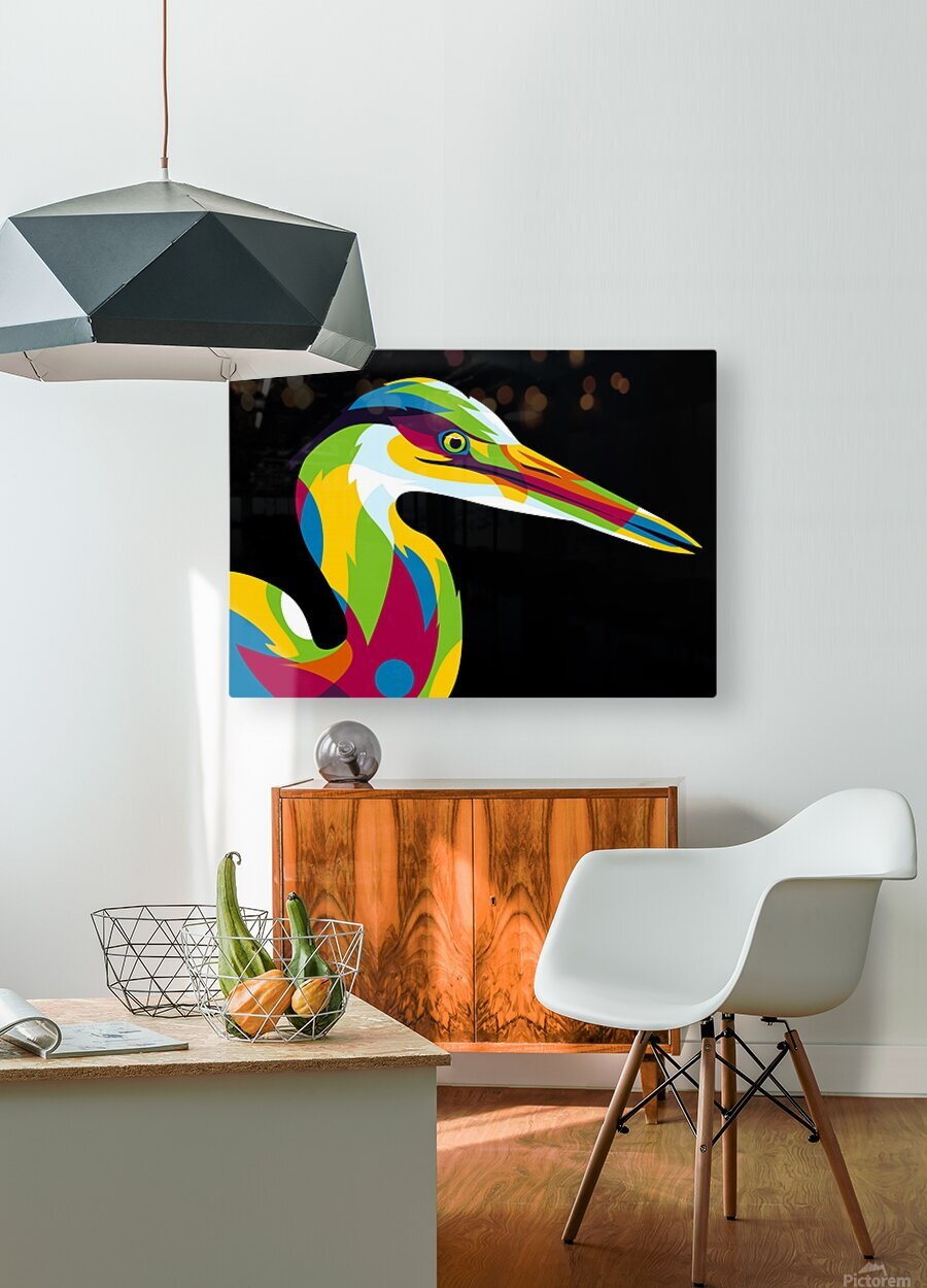 Great Heron in Pop Art Style  HD Metal print with Floating Frame on Back