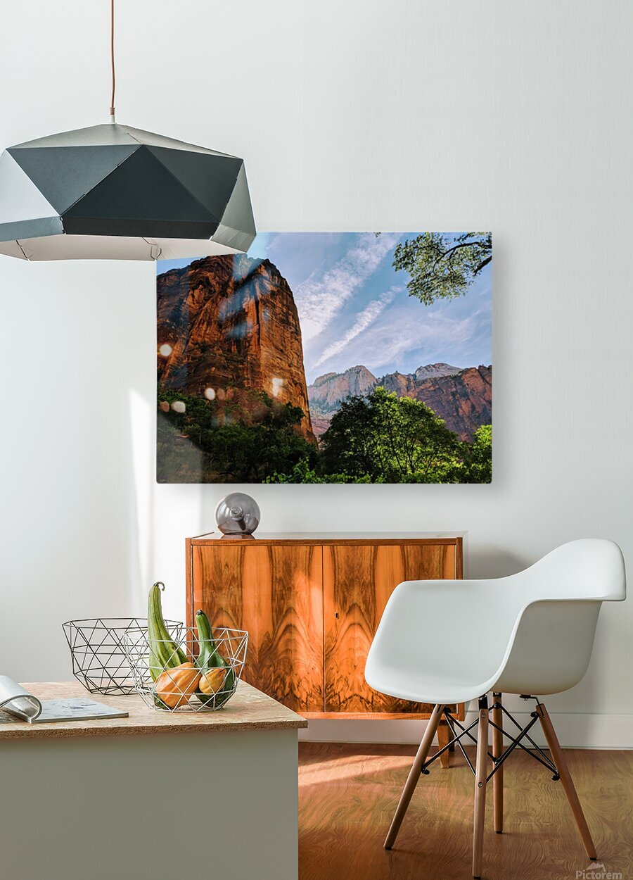 Zion Catching Rays  HD Metal print with Floating Frame on Back