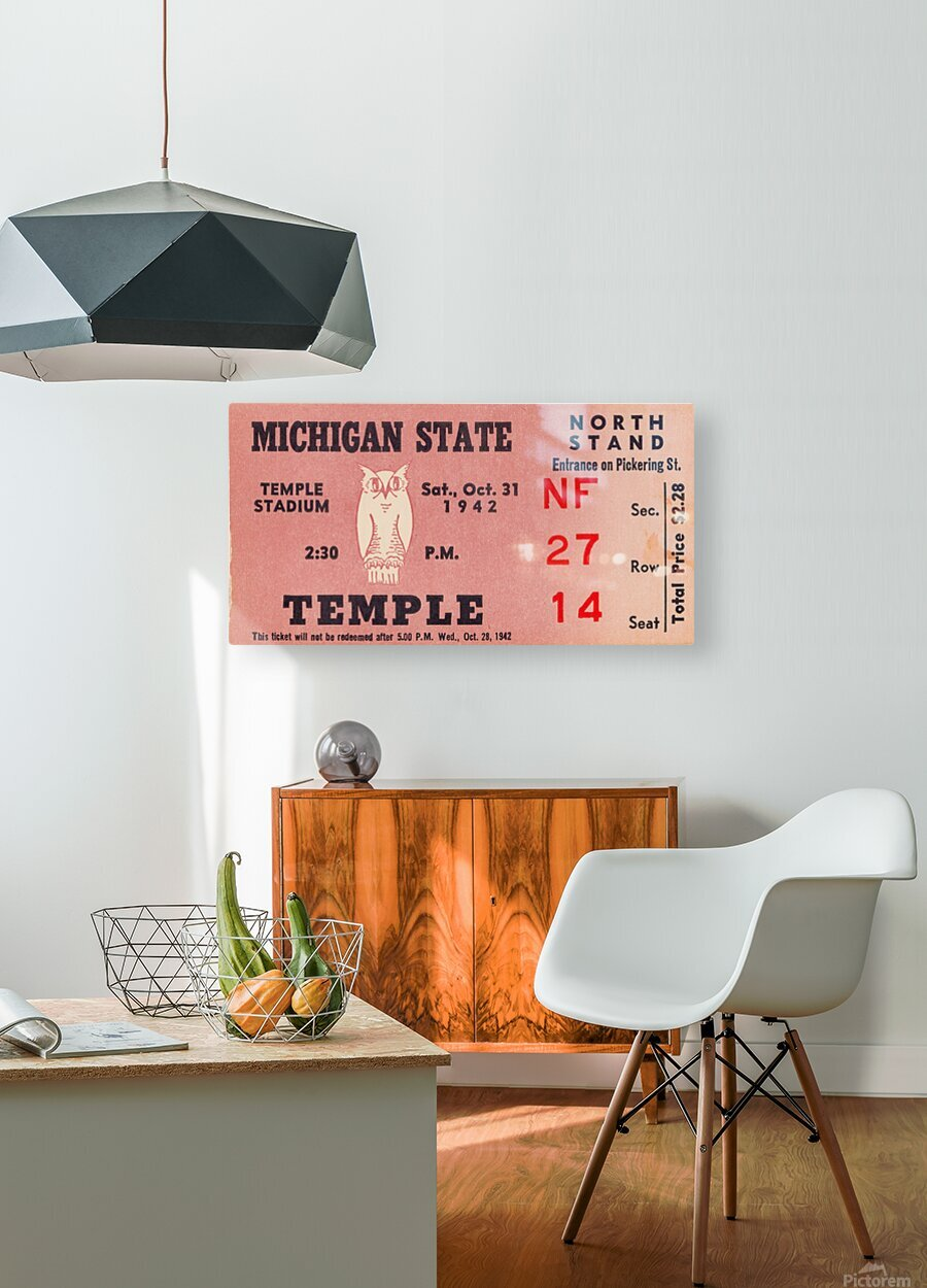 1942 Michigan State vs. Temple  HD Metal print with Floating Frame on Back