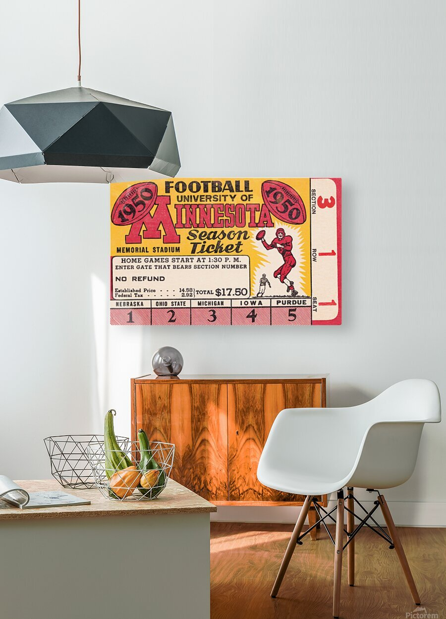 1950 University of Minnesota Season Ticket  HD Metal print with Floating Frame on Back