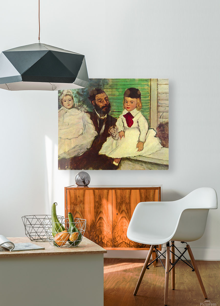 Portrait of Count Lepic and his daughters by Degas  HD Metal print with Floating Frame on Back
