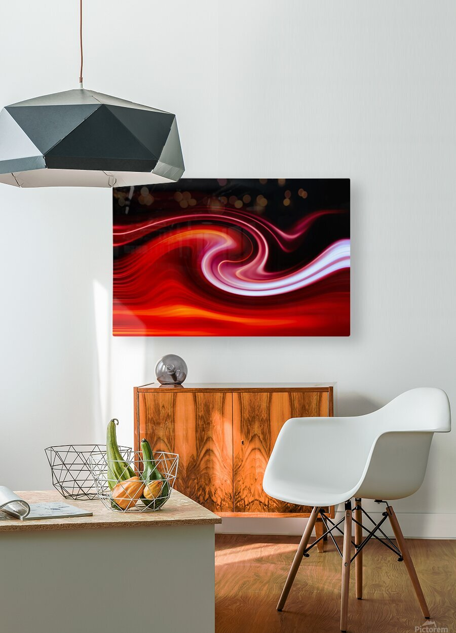 FIRE WAVE  HD Metal print with Floating Frame on Back
