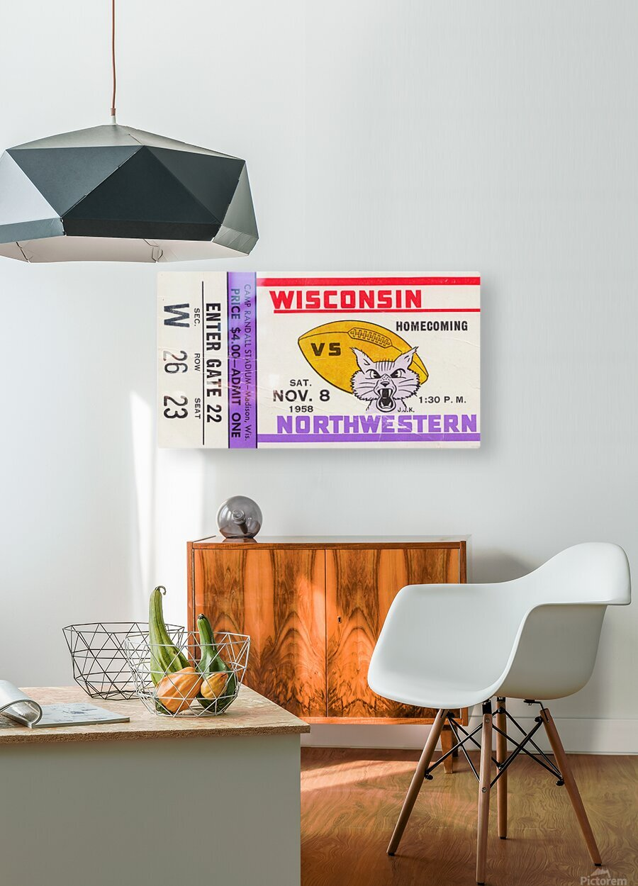 1958 Wisconsin vs. Northwestern  HD Metal print with Floating Frame on Back