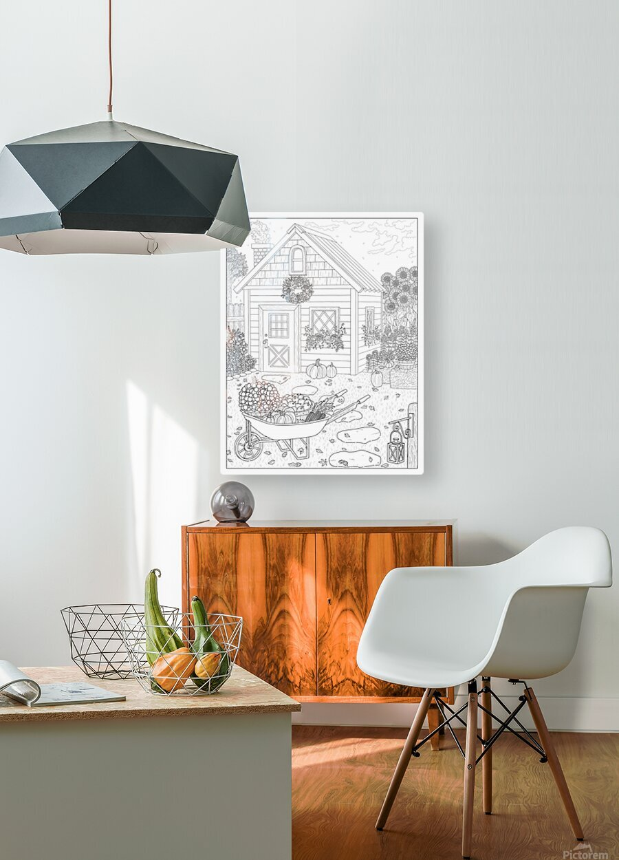 Autumn Cottage Coloring Page  HD Metal print with Floating Frame on Back