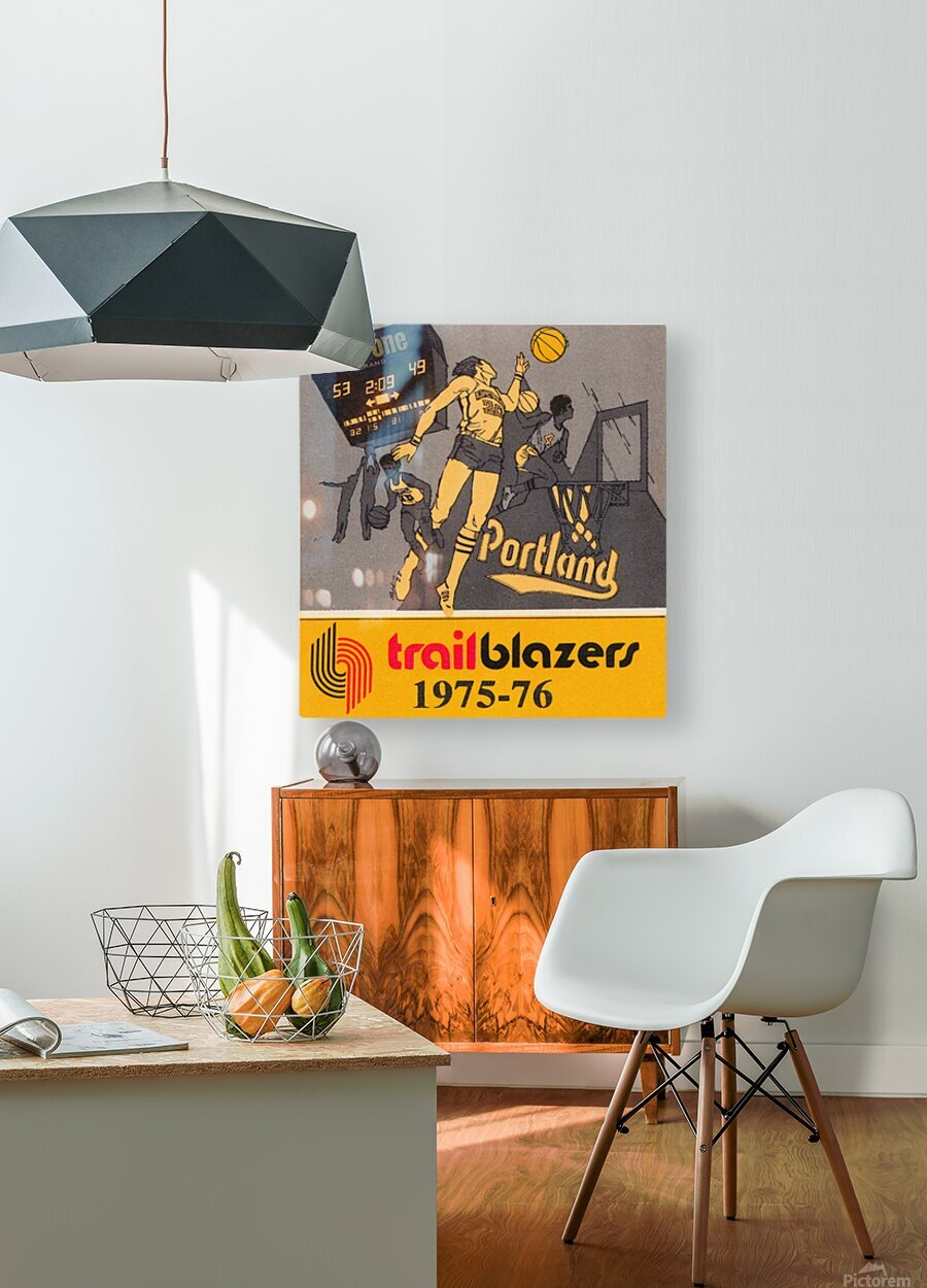 1975 Portland Trailblazers Art  HD Metal print with Floating Frame on Back