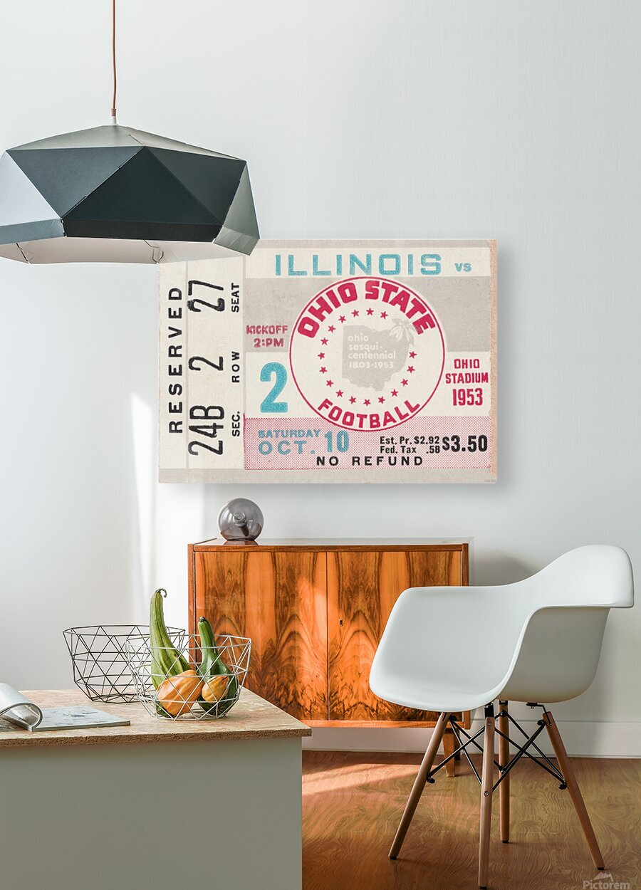 1953 Ohio State vs. Illinois  HD Metal print with Floating Frame on Back