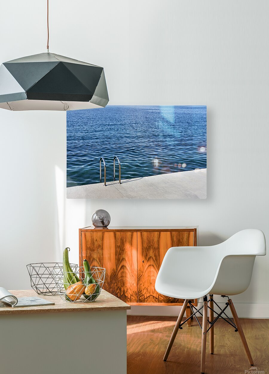 Pool ladder on the shore of the slovenian adriatic coast Piran Slovenia  HD Metal print with Floating Frame on Back