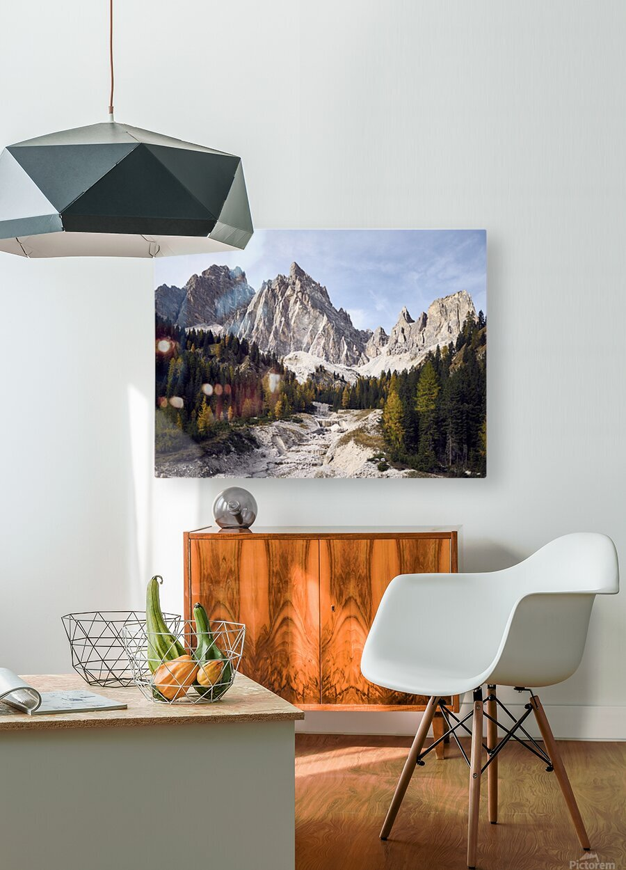 Mountain peaks of the italian dolomites Cortina dAmpezzo Italy Europe  HD Metal print with Floating Frame on Back