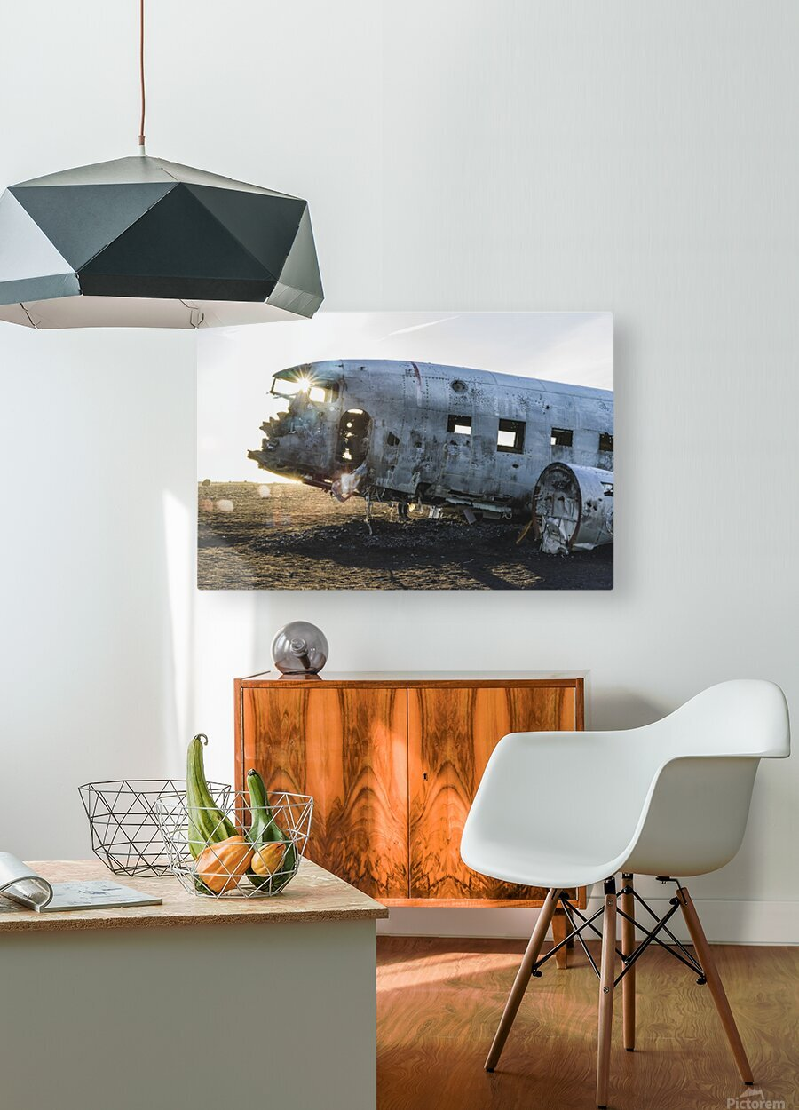 Solheimasandur Plane Crash Southern Region Iceland  HD Metal print with Floating Frame on Back