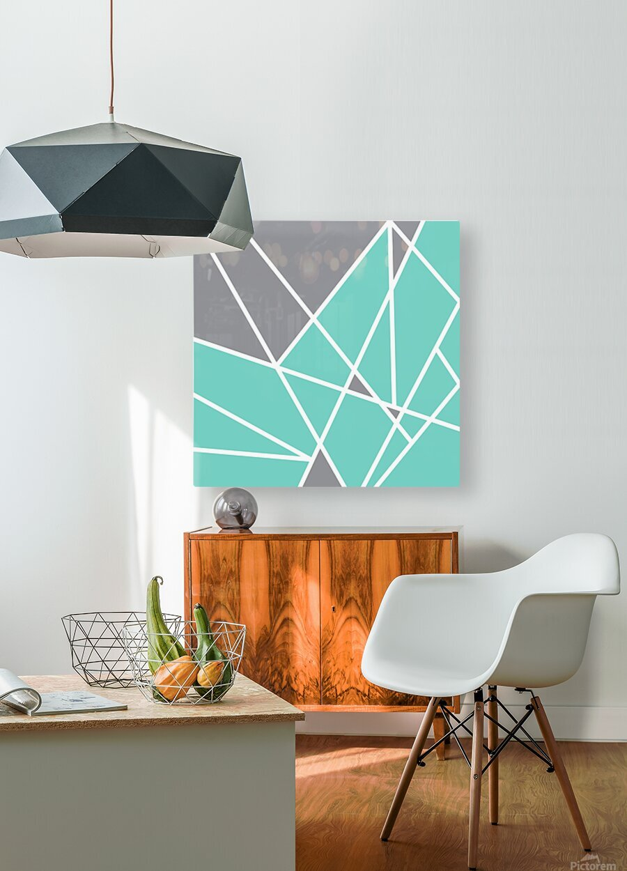 Gray Teal Triangles Geometric Art GAT101 square  HD Metal print with Floating Frame on Back