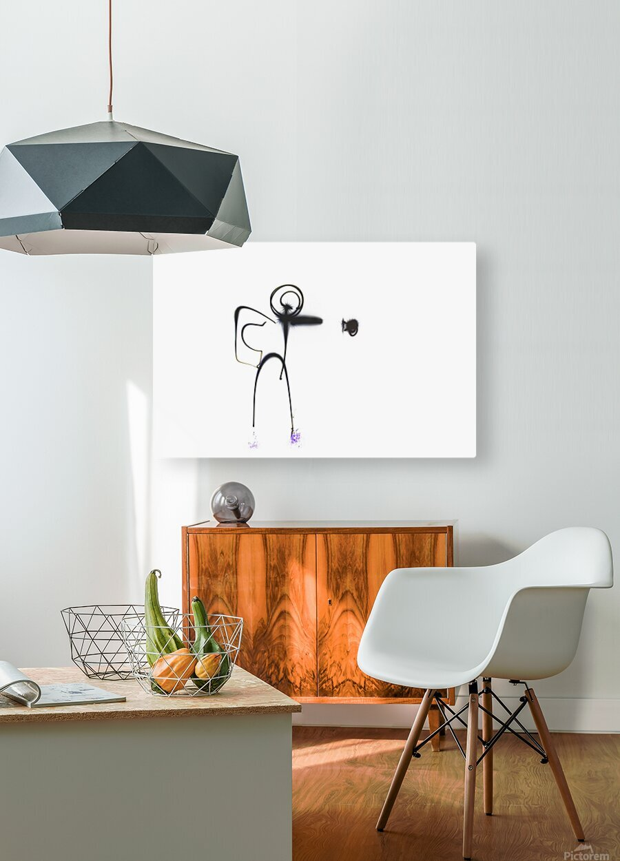 Stick man punch   HD Metal print with Floating Frame on Back