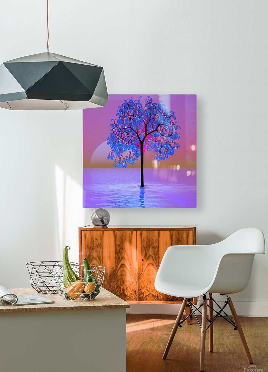 Tree Sunset  HD Metal print with Floating Frame on Back