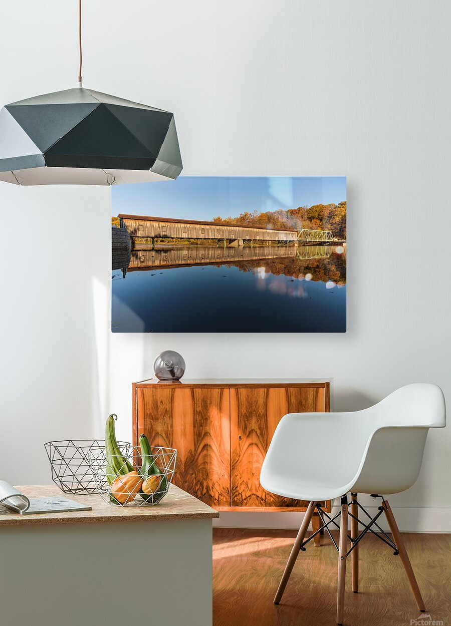 Harpersfield covered bridge and reflection Ashtabula County Ohio  HD Metal print with Floating Frame on Back
