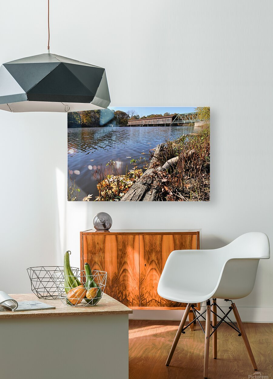 Harpersfield Ohio covered bridge in autumn from east side  HD Metal print with Floating Frame on Back