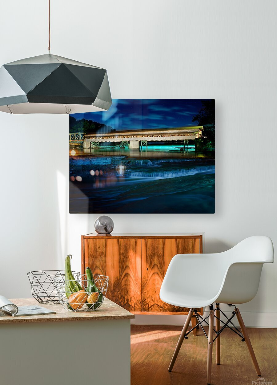 Night image of Harpersfield Covered Bridge over Grand River Ohio  HD Metal print with Floating Frame on Back