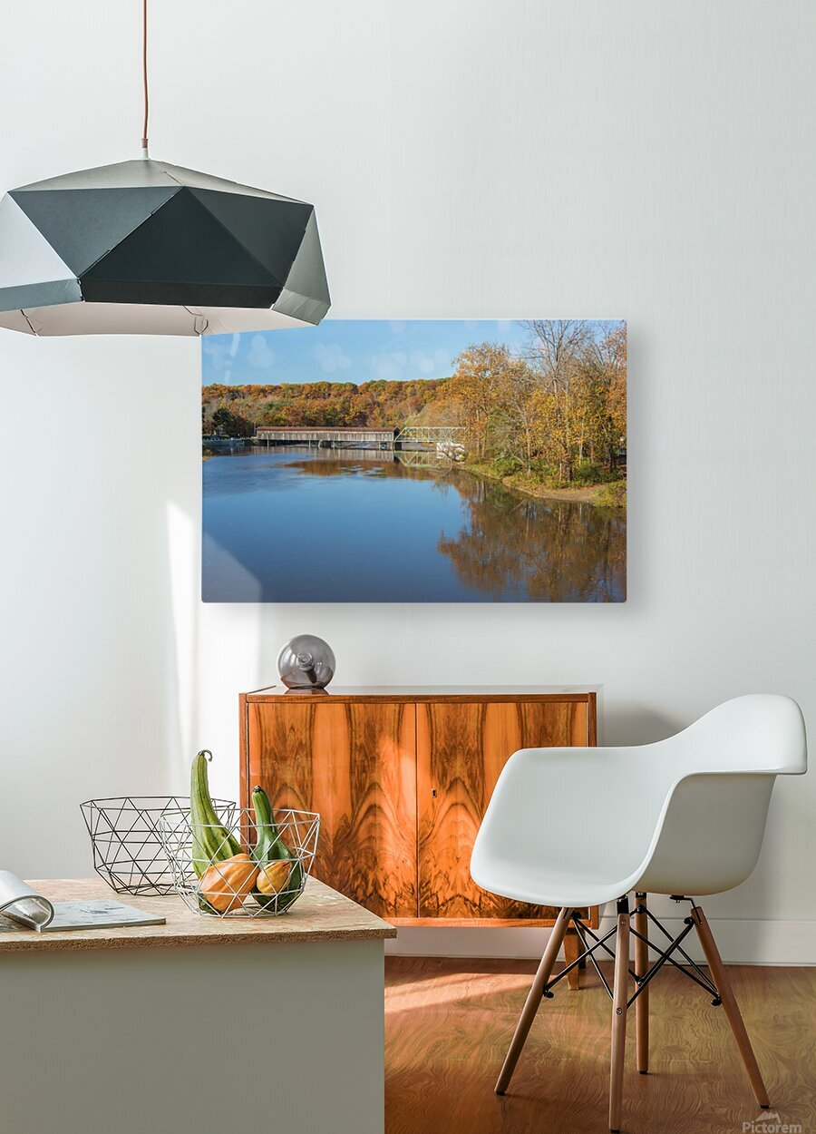 Grand River and Harpersfield covered bridge  HD Metal print with Floating Frame on Back