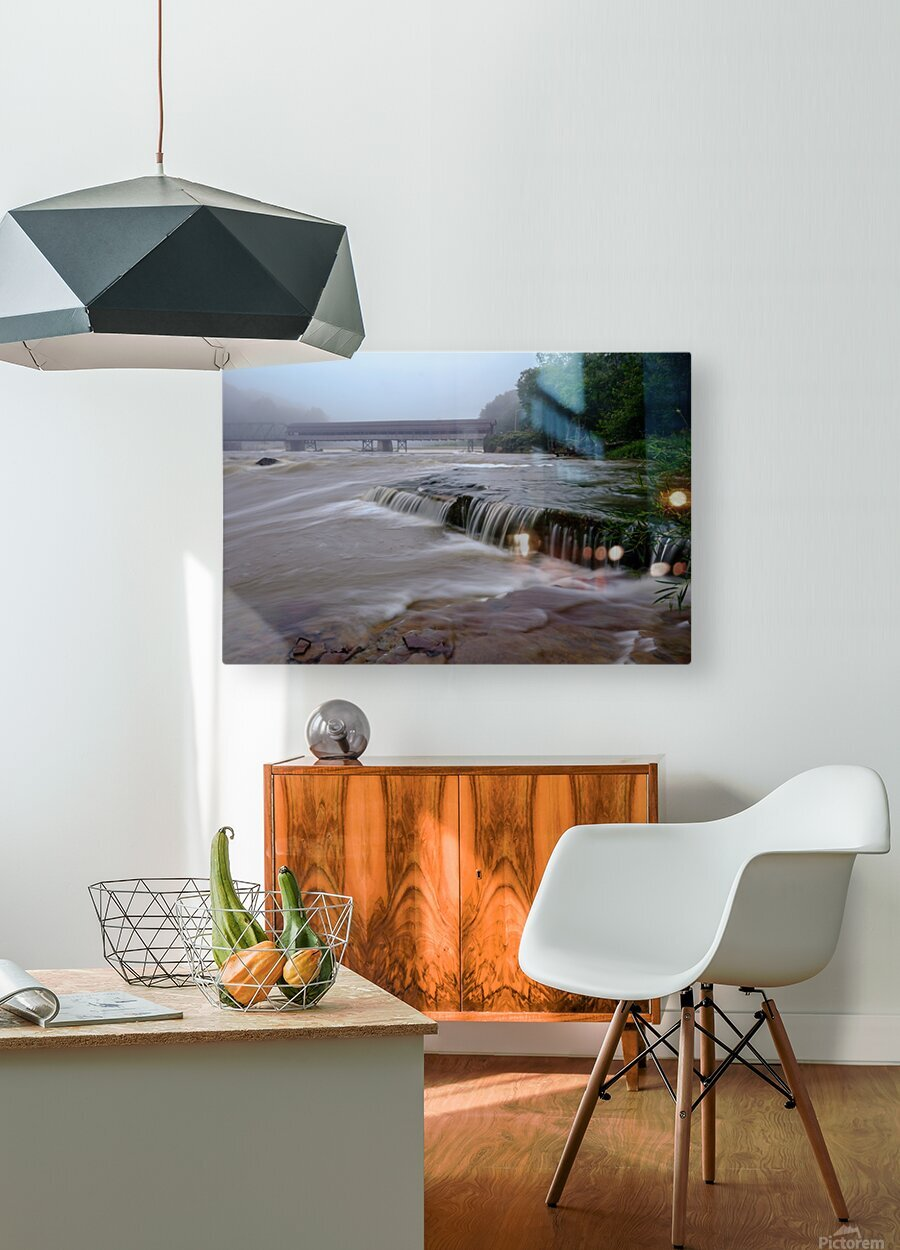 Harpersfield covered bridge and grand river rapids  HD Metal print with Floating Frame on Back