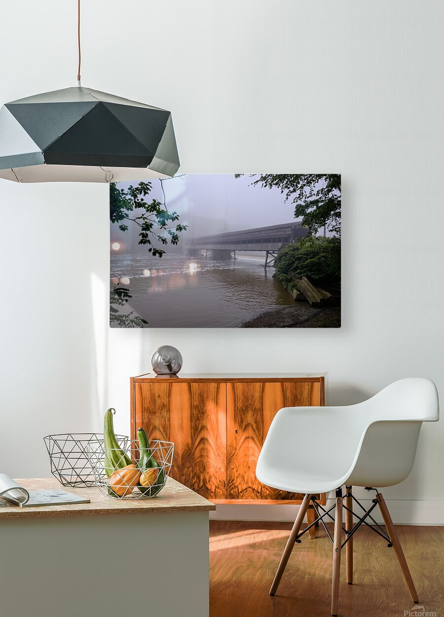 Harpersfield Ohio covered bridge in fog  HD Metal print with Floating Frame on Back