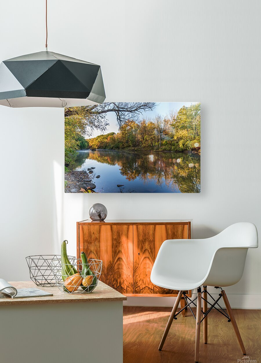 Autumn morning on the Grand River at Mechanicsville Ohio  HD Metal print with Floating Frame on Back