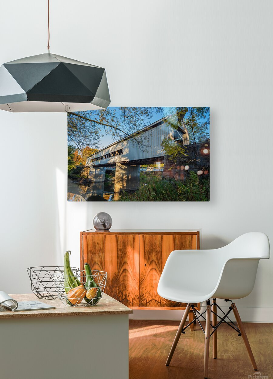 Mechanicsville covered bridge over Grand River Ohio  HD Metal print with Floating Frame on Back