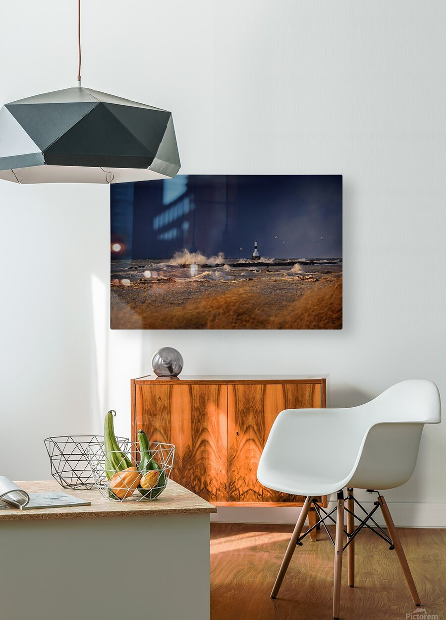Lighthouse at Conneaut Ohio on Lake Erie during storm  HD Metal print with Floating Frame on Back