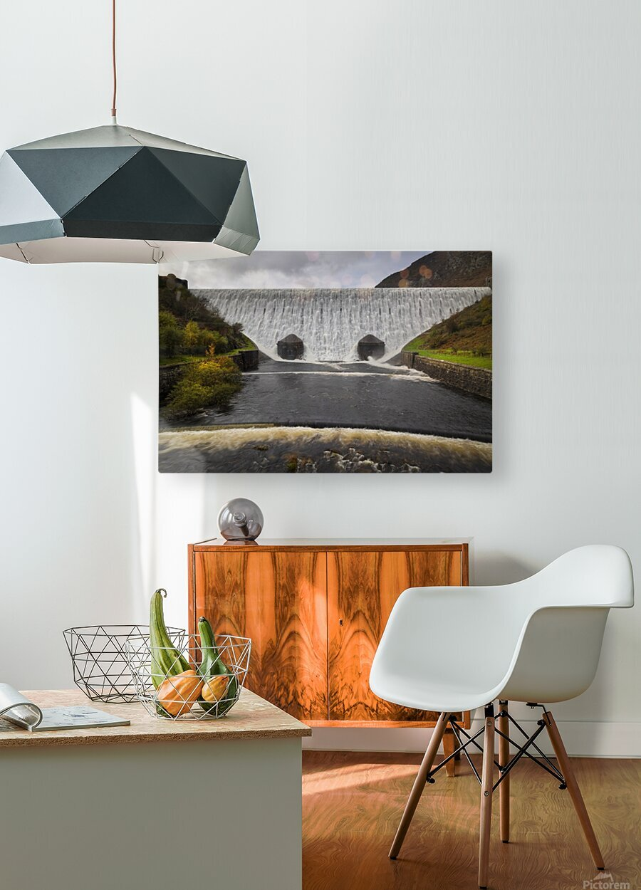 The Elan Valley dam  HD Metal print with Floating Frame on Back