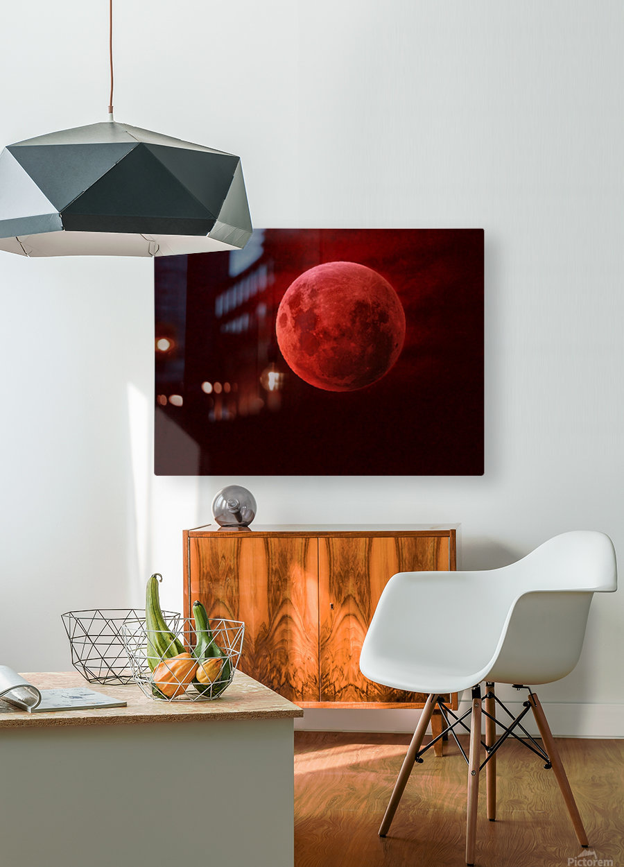 One Red Moon  HD Metal print with Floating Frame on Back