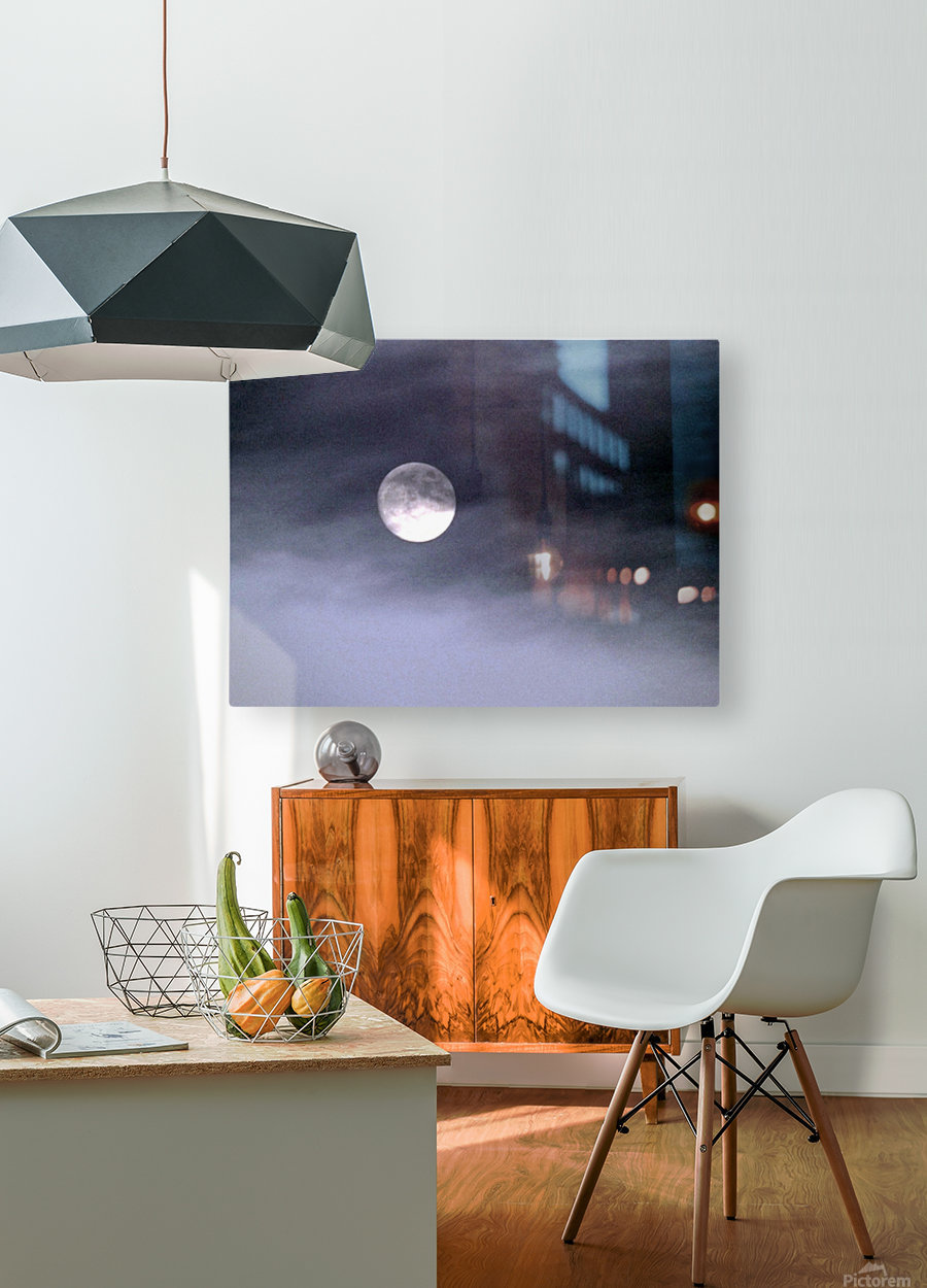 Full Moon  HD Metal print with Floating Frame on Back