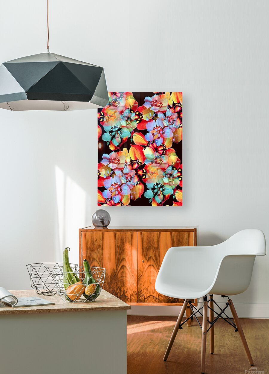 Harlequin Flowers in Watercolor  HD Metal print with Floating Frame on Back