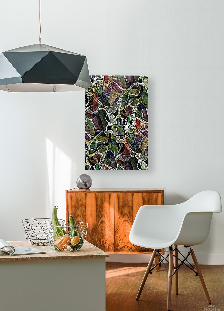 Linear Geometric Abstract   HD Metal print with Floating Frame on Back