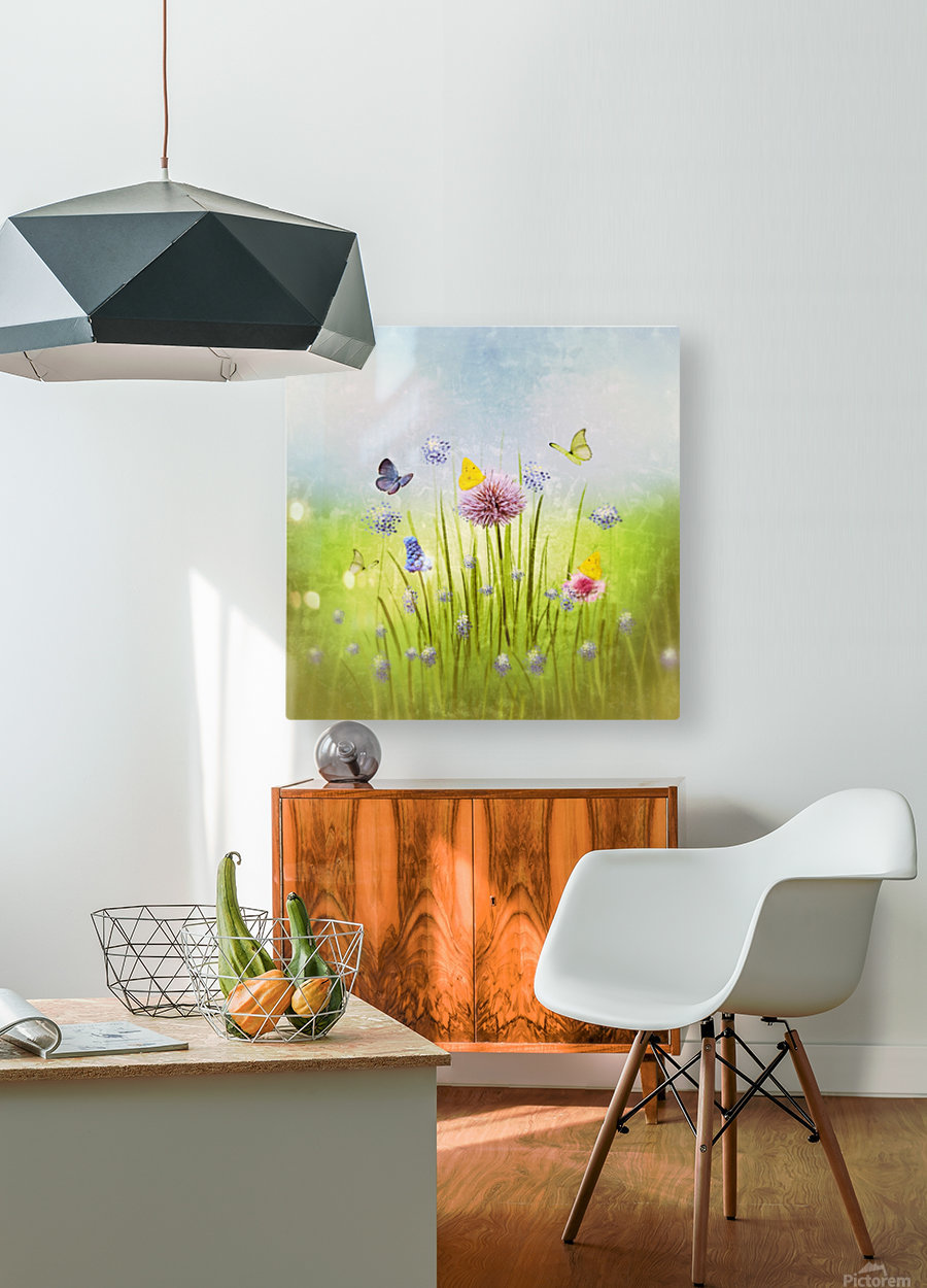 Spring meadow  HD Metal print with Floating Frame on Back