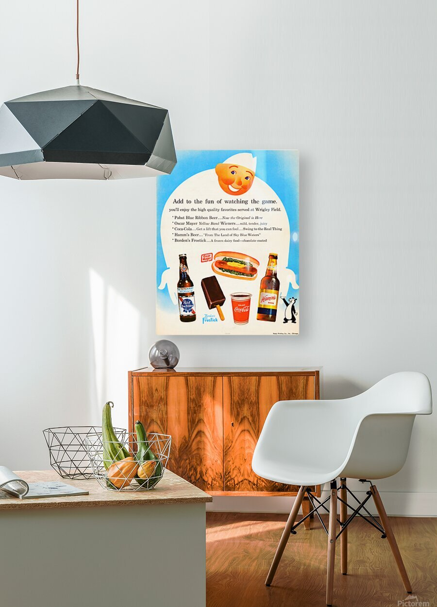1962 Otis Shepard Concessions Ad  HD Metal print with Floating Frame on Back