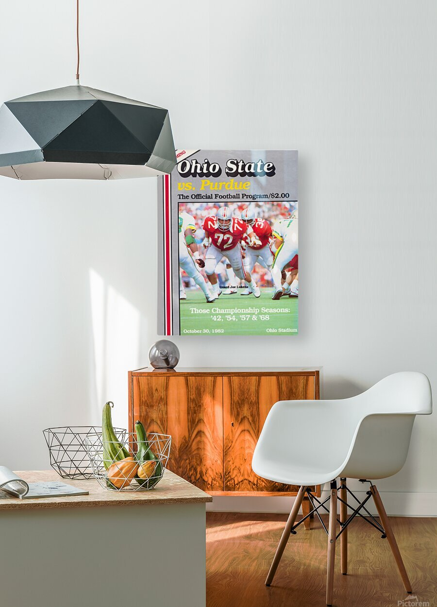 1982 Ohio State vs. Purdue Program Cover Art  HD Metal print with Floating Frame on Back