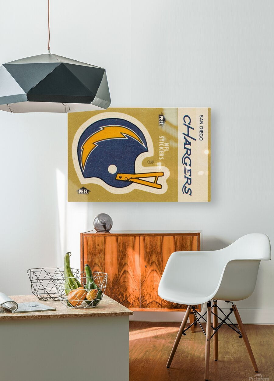 1982 Fleer Sticker San Diego Chargers Art  HD Metal print with Floating Frame on Back