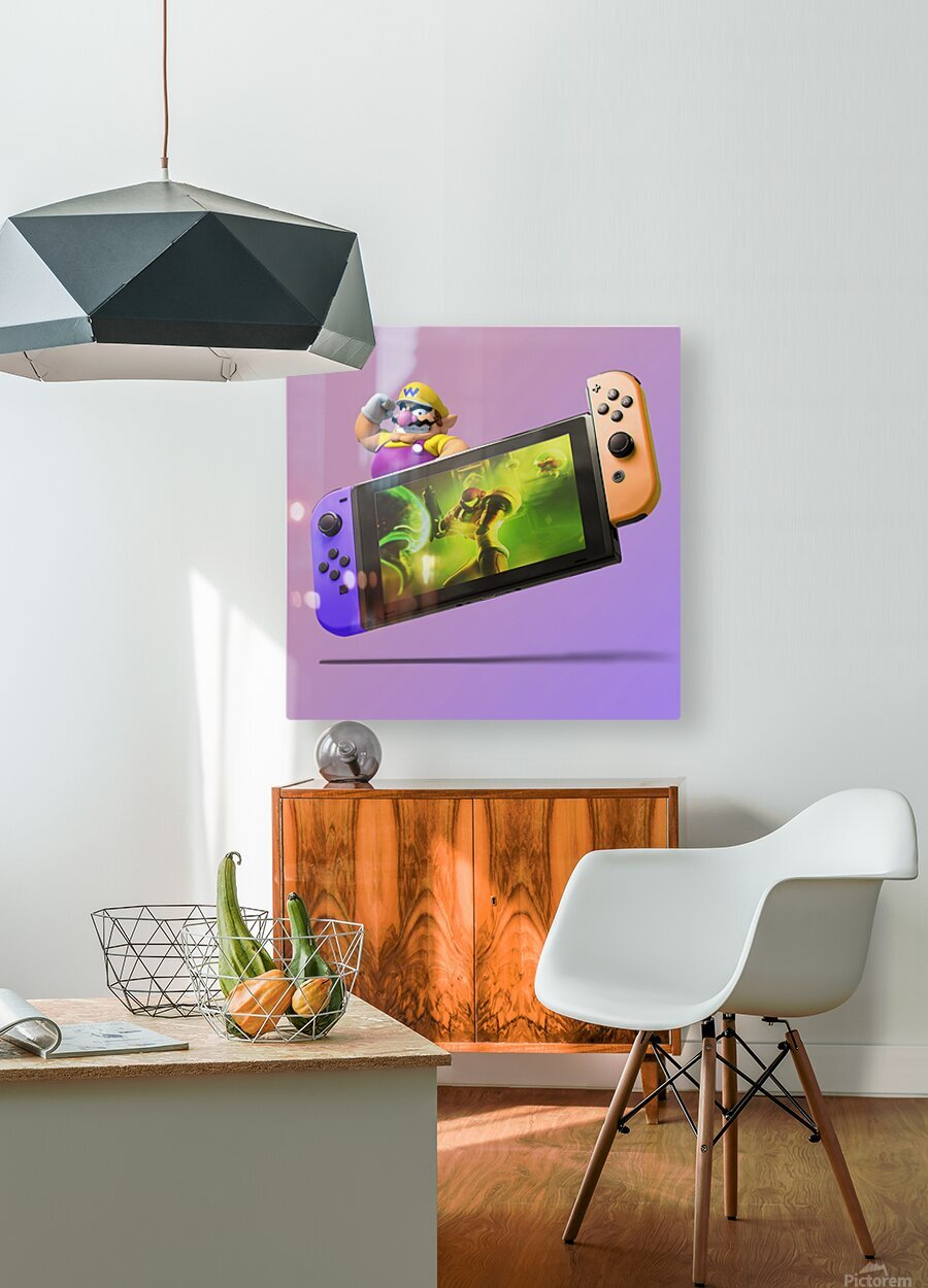 Nintendo Switch Wario  HD Metal print with Floating Frame on Back