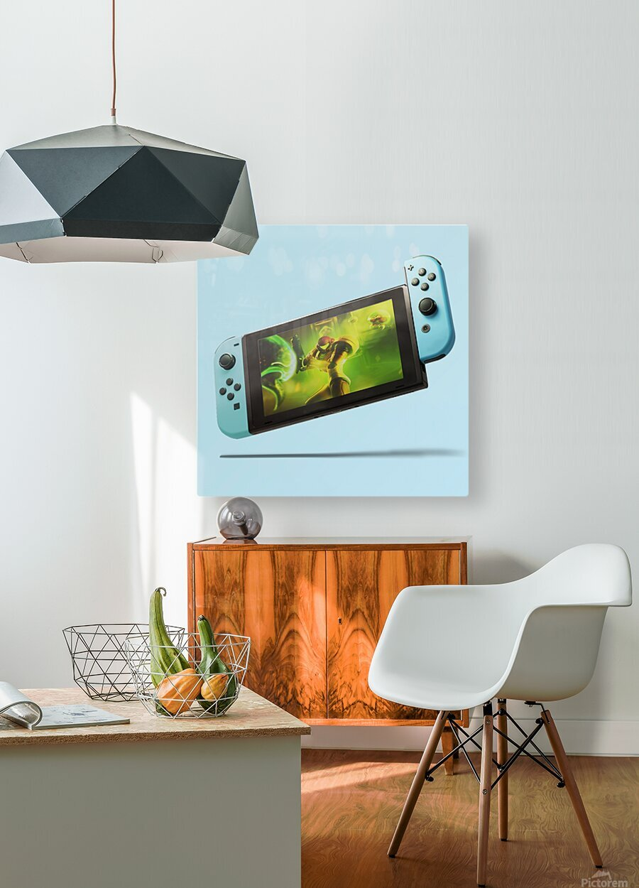Nintendo Switch Blue  HD Metal print with Floating Frame on Back