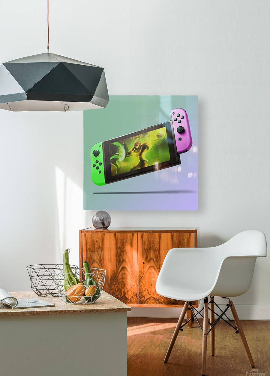Nintendo Switch Green Pink  HD Metal print with Floating Frame on Back