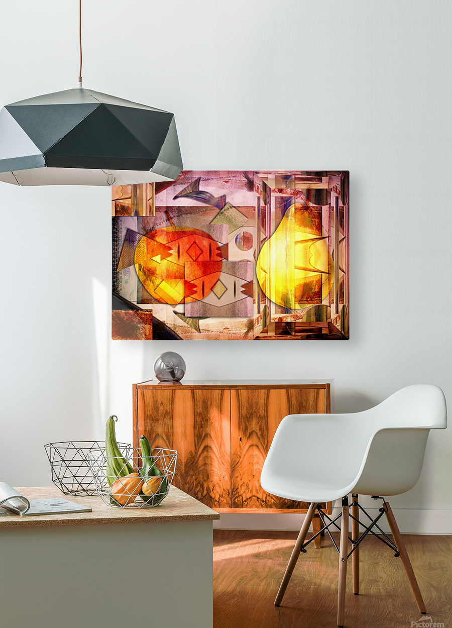 Apple and Pear  HD Metal print with Floating Frame on Back